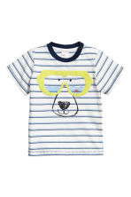 Cotton T-shirt - White/Blue striped - Kids | H&M 1