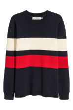 Fine-knit cotton-blend jumper - Dark blue/Striped - Men | H&M 2