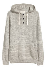 Hooded fine-knit cotton jumper - Grey marl - Men | H&M GB 2