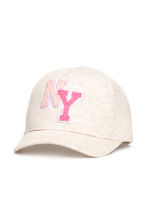 Jersey cap with a motif - Light beige marl - Kids | H&M CN 1