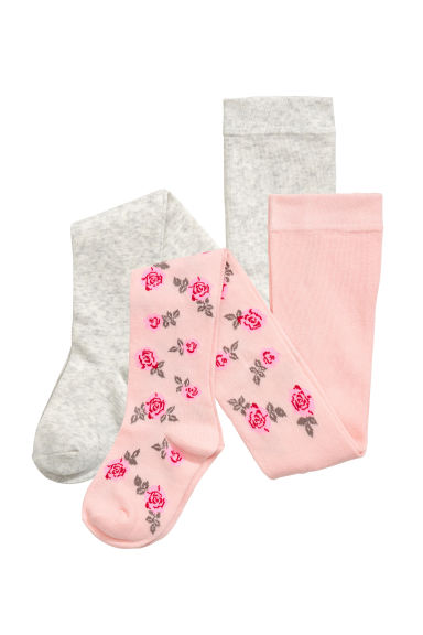 Collants, lot de 2 - Rose clair/roses - ENFANT | H&M BE