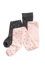 2-pack fine-knit tights - Light pink/Spotted -  | H&M 1