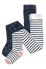 2-pack fine-knit tights - Dark blue/Spotted - Kids | H&M CN 1