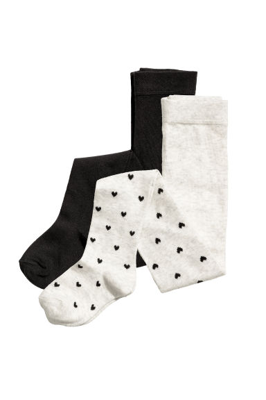 2-pack fine-knit tights - Grey marl/Hearts - Kids | H&M 1