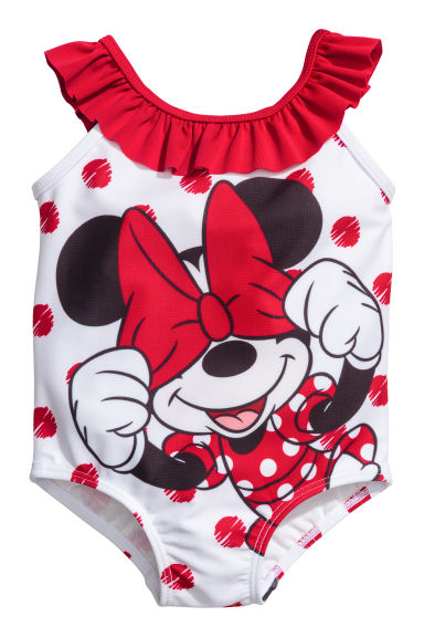 Swimsuit with a frill - White/Minnie Mouse - Kids | H&M 1