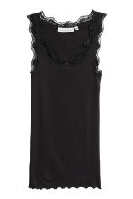 Ribbed vest top with lace - Black - Ladies | H&M 2