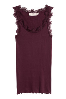 Ribbed vest top with lace