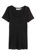 Short-sleeved jersey top - Black - Ladies | H&M 2