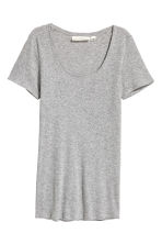 Short-sleeved jersey top - Grey marl - Ladies | H&M GB 2