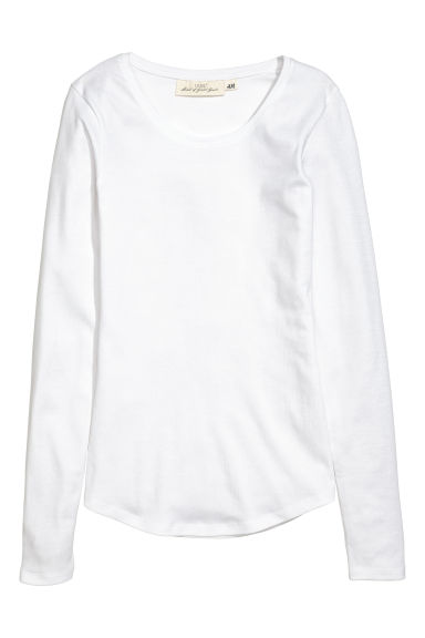 Long-sleeved jersey top - White - Ladies | H&M IE