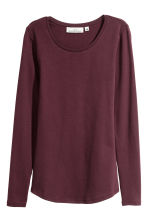 Long-sleeved jersey top - Burgundy - Ladies | H&M 2