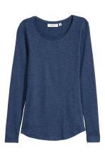 Long-sleeved jersey top - Blue marl - Ladies | H&M 2