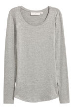 Long-sleeved jersey top - Light grey marl - Ladies | H&M 2