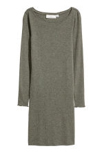 Fitted jersey dress - Khaki green/Marled - Ladies | H&M IE 2