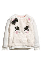 Sweatshirt with faux fur - Natural white -  | H&M 2