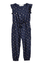 Jumpsuit with frilled sleeves - Dark blue/Cherry -  | H&M CN 2