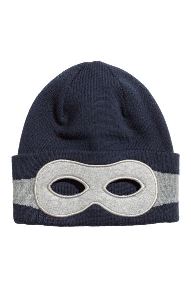Knitted hat with an eye mask - Dark blue/Grey marl - Kids | H&M