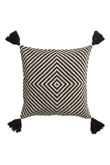 Tasselled cushion cover - Anthracite grey -  | H&M CN