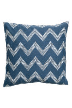 Jacquard-weave cushion cover - Navy blue/White - Home All | H&M CN 1