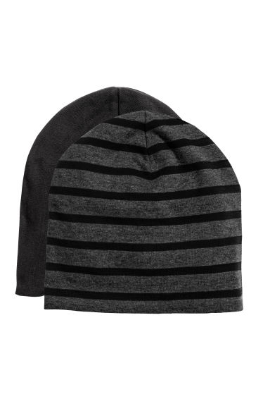 2-pack jersey hats - Dark grey/Striped - Kids | H&M
