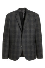 Wool-blend jacket Slim fit - Grey/Black checked - Men | H&M CN 2
