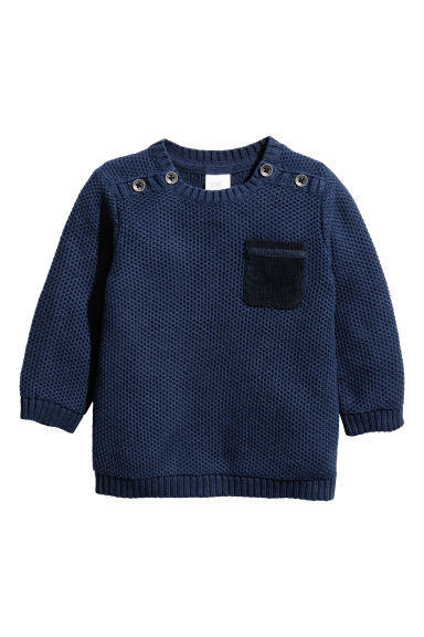 Textured-knit jumper - Dark blue - Kids | H&M CN