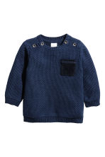 Textured-knit jumper - Dark blue - Kids | H&M 1