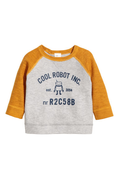 Fine-knit cotton jumper - Mustard yellow/Robot -  | H&M CN 1