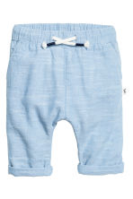 Pull-on cotton trousers - Light blue marl - Kids | H&M 1