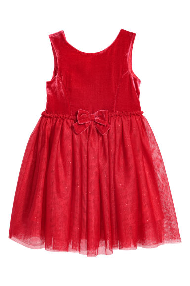 Tulle dress - Red/Velvet -  | H&M
