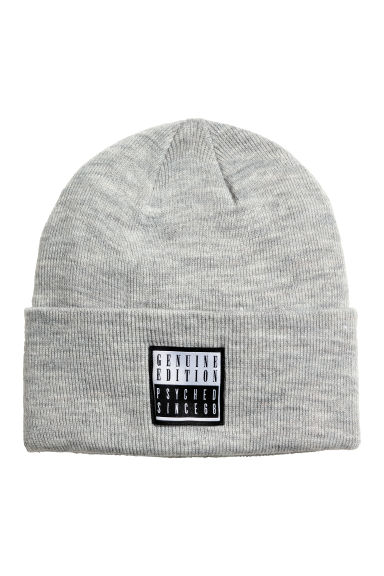 Fine-knit hat - Light grey marl - Men | H&M CN 1