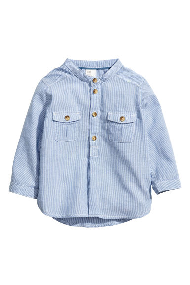 Grandad-collar cotton shirt - Blue - Kids | H&M 1