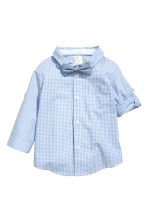 Shirt with bow tie and shorts - Light blue/Checked - Kids | H&M 2