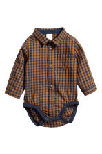 Shirt bodysuit - Light brown/Blue checked -  | H&M 1