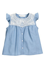 Cotton blouse with lace - Blue/Chambray -  | H&M 2