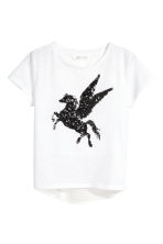 Top with sequins - White/Unicorn - Kids | H&M 2