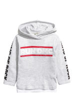 Printed hooded top - Light grey/RUN DMC -  | H&M CN 2