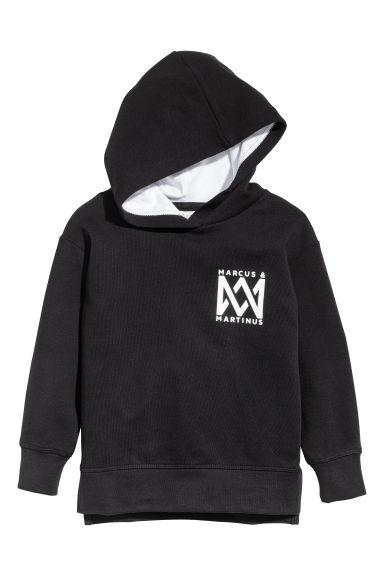 Printed hooded top - Black/Marcus & Martinus -  | H&M GB