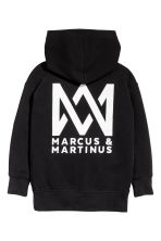 Printed hooded top - Black/Marcus & Martinus - Kids | H&M CN 3