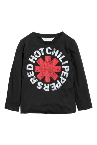 Camisola jersey com estampado - Preto/Red Hot Chili Peppers - CRIANÇA | H&M PT