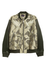 Jacquard-weave bomber jacket - Dark green/Patterned - Men | H&M 2