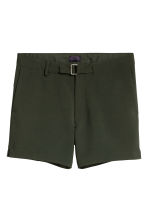 Shorts with fabric belt - Dark khaki green - Men | H&M 2
