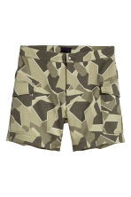 Jacquard-weave cargo shorts - Khaki green/Patterned - Men | H&M CN 2