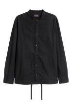 Drawstring cotton shirt - Black - Men | H&M CN 2