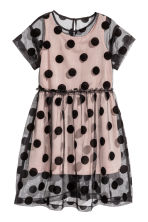 Short-sleeved tulle dress - Black/dotted - Kids | H&M CA 2