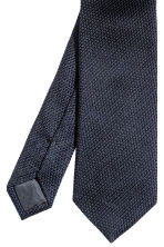 Textured silk tie - Dark blue - Men | H&M CN 3