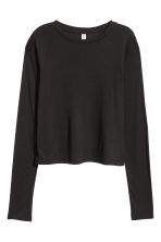 Ribbed jersey top - Black - Ladies | H&M GB 3