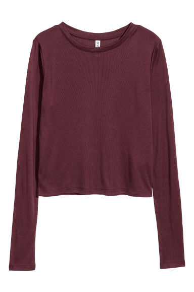 Ribbed jersey top - Burgundy - Ladies | H&M CN