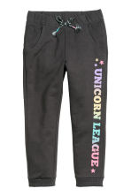Sweatpants - Black/Text print - Kids | H&M CN 2