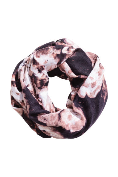 Patterned Tube Scarf - Dark blue/floral -  | H&M CA 1